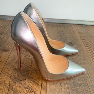 CHRISTIAN LOUBOUTIN Silver Patent Leather Heels